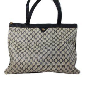 Vintage Gucci GG Monogram Tote Shoulder Bag Blue